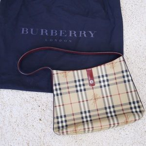 Burberry Classic Check Print Purse With Red Straps